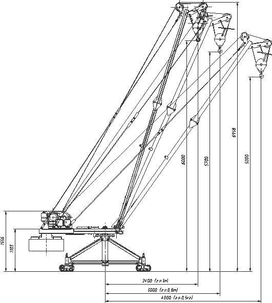 """Поворотный стреловой кран КСП-1000  """"Мастер-3 """" типа Пионер имеет грузоподъемность 1000 кг, вылет стрелы 4 м..."""